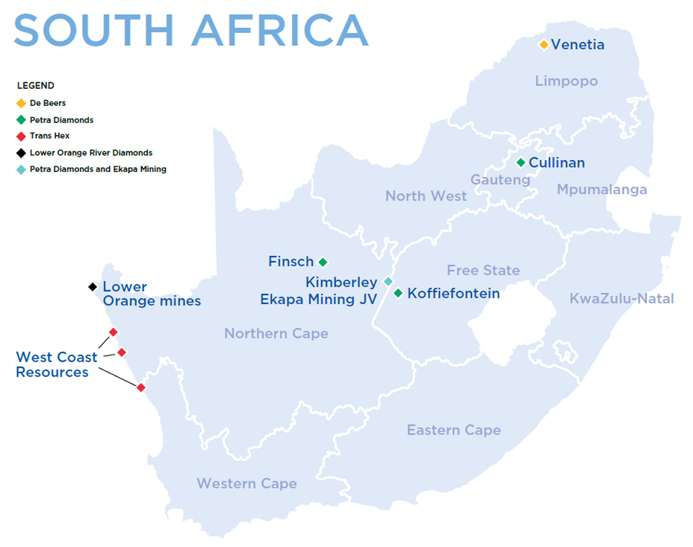 diamonds in africa map Where Diamonds Are Found And Mined In South Africa Mining For diamonds in africa map